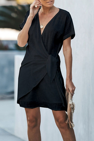 Fashion V-Neck Cross Short Sleeved Casual Dress