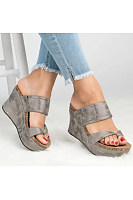 Plain  High Heeled  Peep Toe  Casual Wedge Sandals
