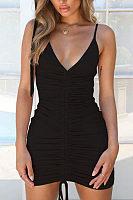 Spaghetti Strap  Drawstring  Plain  Sleeveless Bodycon Dresses