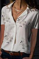 Turn Down Collar  Printed  Blouses