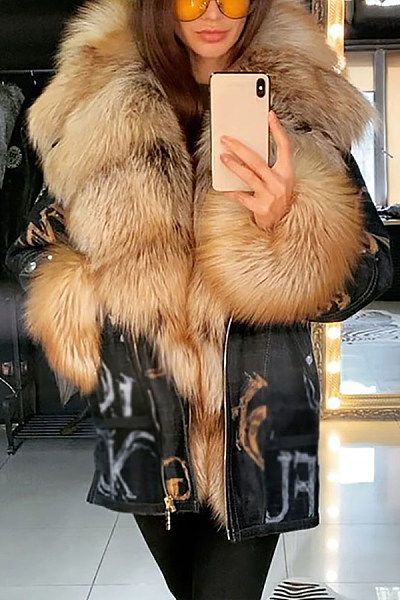 Plus velvet thick long women's Fluffy Coat