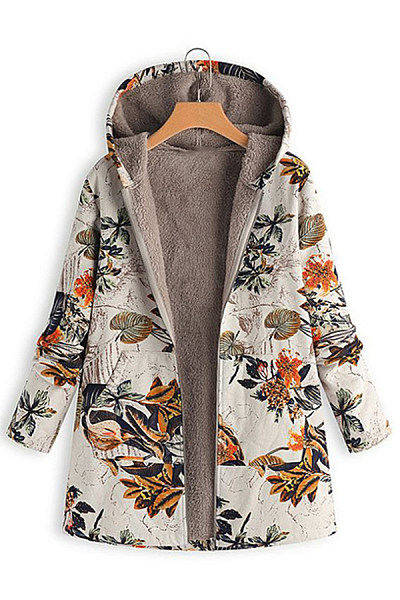 Hooded Long Sleeve Printed Outerwear