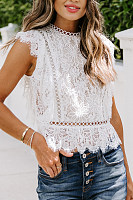 Round neck solid color lace sleeveless shirt vest
