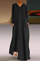Hoodied Long Sleeve Pockets Plain Maxi Dress