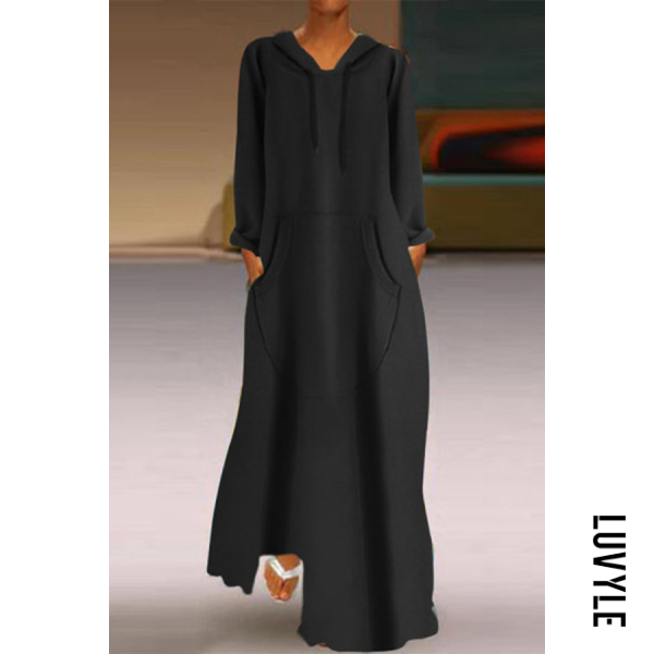 Black Hoodied Long Sleeve Pockets Plain Maxi Dress Black Hoodied Long Sleeve Pockets Plain Maxi Dress