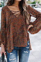 Casual Lace-up V-neck Top