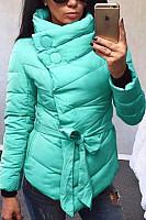 High Neck  Bowknot Asymmetric Hem Plain Padded Coat