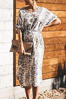 V Neck  Print Maxi Dresses