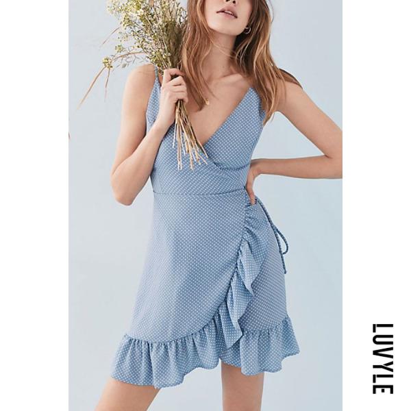 Blue Spaghetti Strap Backless Belt Dot Sleeveless Casual Dresses Blue Spaghetti Strap Backless Belt Dot Sleeveless Casual Dresses
