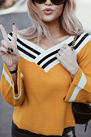 Sexy Large V-Neck Colorblock Long-Sleeved Sweater