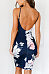 Spaghetti Strap  Backless  Floral Printed  Sleeveless Bodycon Dresses