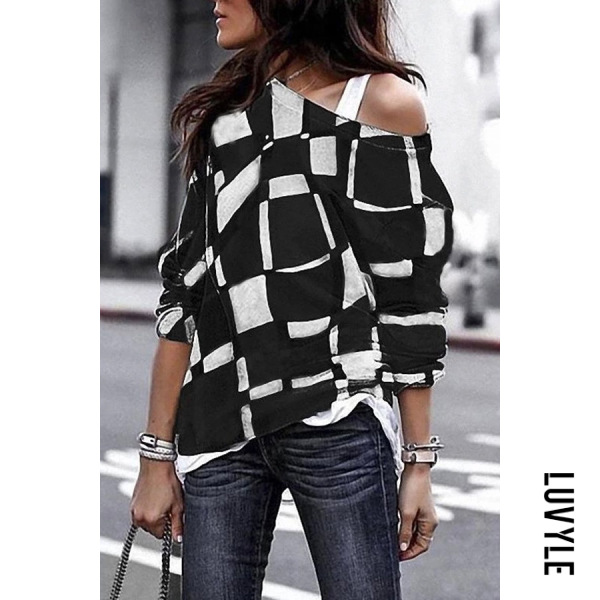 Black Loose Fitting Round Collar Printed Plaid T-Shirt Black Loose Fitting Round Collar Printed Plaid T-Shirt