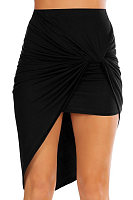 Asymmetric Hem  Plain  Basic Skirts