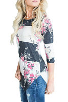 Round Neck  Asymmetric Hem  Color Block Floral Printed T-Shirts