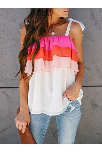 Fashion One-Word Shoulder Matching Color T-Shirt