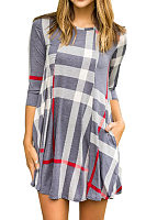 Round Neck  Gingham Patchwork Casual Dresses