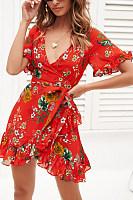 Deep V Neck  Printed  Short Sleeve Bodycon Dresses