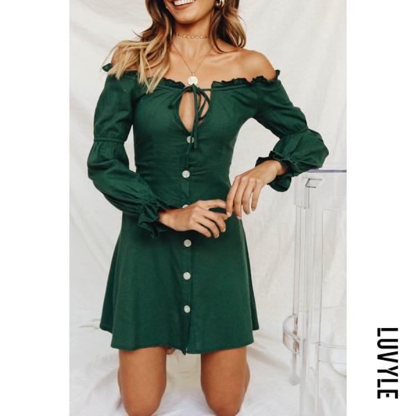 Green Off Shoulder Single Breasted Plain Long Sleeve Casual Dresses Green Off Shoulder Single Breasted Plain Long Sleeve Casual Dresses