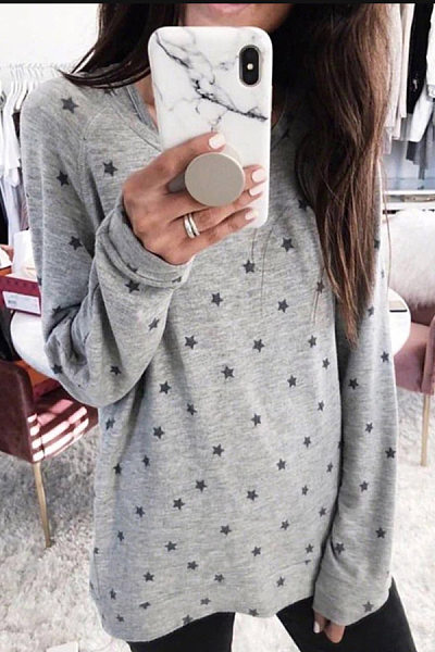 Plus Size Round Neck Long Sleeve Star T-Shirt