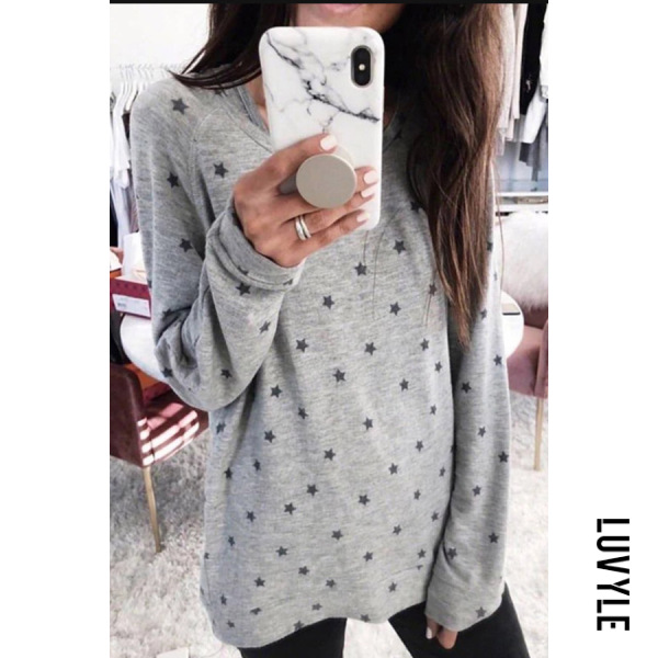 Gray Plus Size Round Neck Long Sleeve Star T-Shirt Gray Plus Size Round Neck Long Sleeve Star T-Shirt