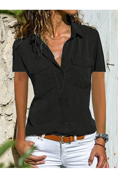 Turn Down Collar  Plain  Short Sleeve Blouse