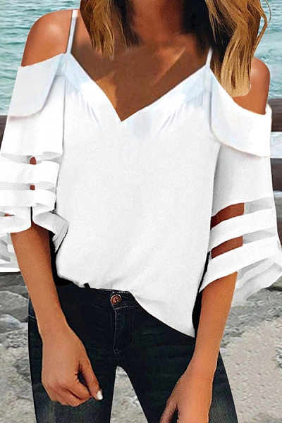 Fashion Sexy Sling Off-Shoulder Bell Sleeves Blouse