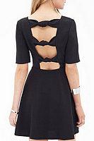 Backless  Plain  Half Sleeve Skater Dresses