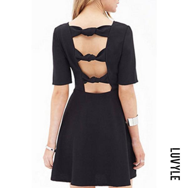 Black Backless Plain Half Sleeve Skater Dresses Black Backless Plain Half Sleeve Skater Dresses