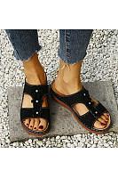 Women's comfortable wedge heel sandals with round flowers