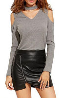Halter  Cutout  Plain T-Shirts