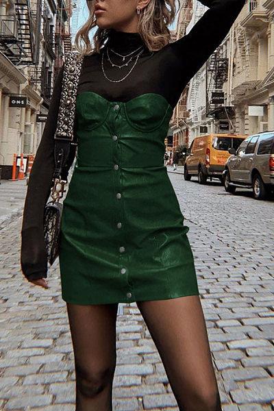 Strapless  Single Breasted  Plain  Sleeveless Bodycon Dresses