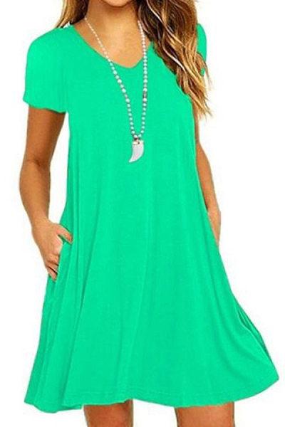 V Neck Plain Shift Dress