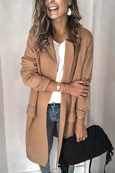 Fold-Over Collar Plain Casual Outerwear