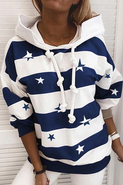 Casual Striped Star Print Sweatshirt