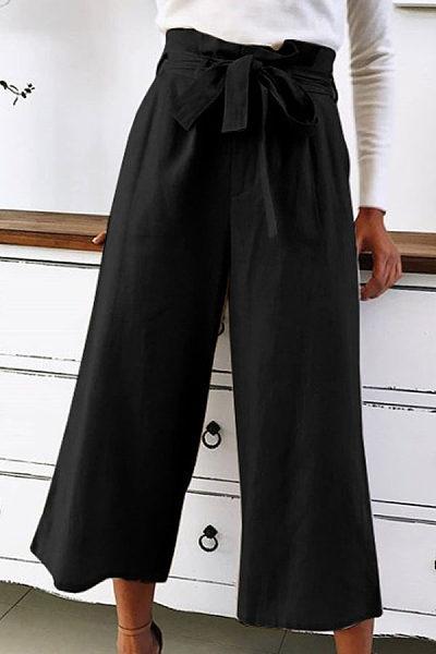 Women Loose-Fitting Plain Casual Pants