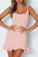 Spaghetti Strap  Asymmetric Hem Backless  Tiered  Plain Casual Dresses