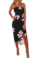 Strapless  Asymmetric Hem  Floral Printed  Short Sleeve Maxi Dresses