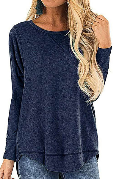 Round Neck Long Sleeve Curved Hem T-Shirt