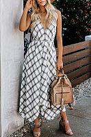 Sling Open Back Plaid Maxi Dress