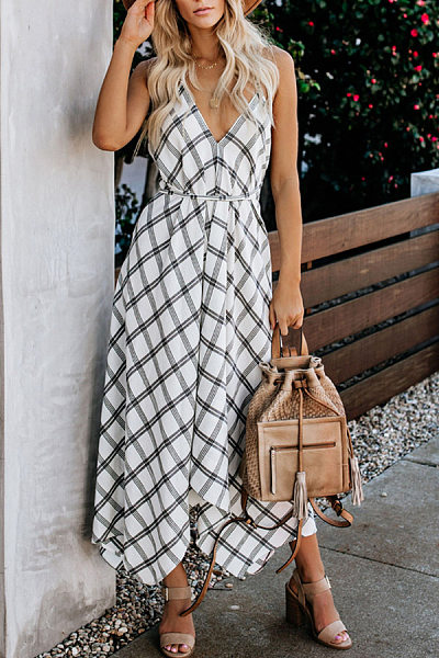 Sling Open Back Plaid Maxi Dress