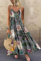 Casual Sweet print camisole maxi dress