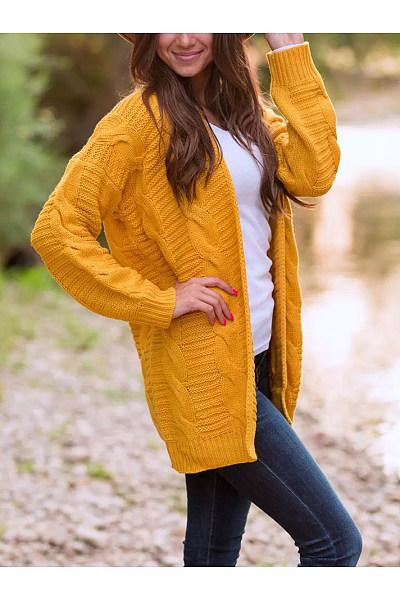 Plain Long Sweater Cardigan