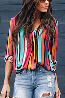 Fashion Rainbow Bar Printing Long-Sleeved Blouses