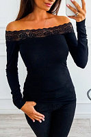 Casual Shoulder Lace Patchwork Long Sleeve T-Shirt