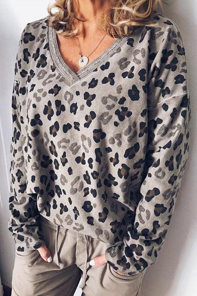 Casual V Neck Long Sleeve Leopard T-Shirt