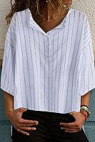 Button Neck Half Sleeve Stripes Blouses