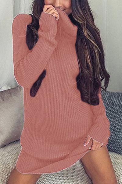Short High Collar Plain Medium Sweater