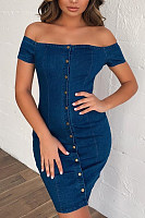 Off Shoulder  Single Breasted  Plain  Short Sleeve Bodycon Dresses