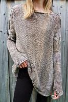 Crew Neck  Asymmetric Hem  Plain Sweaters