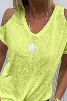 Star Print V-Neck Strapless Short-Sleeved Casual T-Shirt